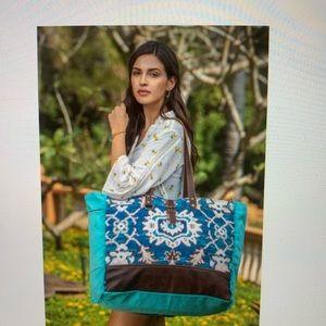 Myra turquoise canvas, leather weekender bag